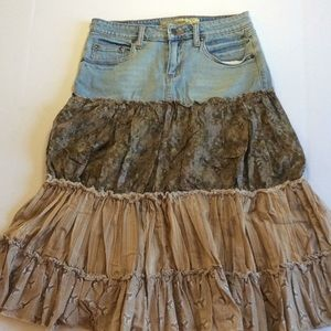 MUDD Boho Chic Floral Ruffle Quilted Jean Skirt 3